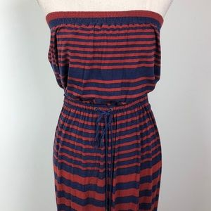 LOFT || Navy and Rust Striped Dress
